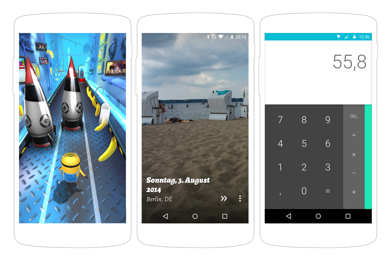 Abb. 1.24: Minion Rush, Muzei Und Die Rechner App Für Android Setzen  Ebenfalls Auf Eine Individuelle Navigation